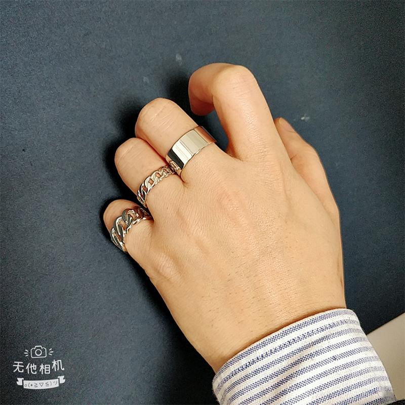 银戒指男潮嘻哈单身戒个姓潮人简约学生男士开口食指尾戒指环 S925