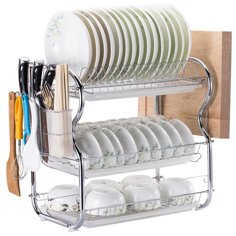 三层厨房置物架两层沥水碗碟架放碗筷沥水架碗架收纳架子碗盘用品