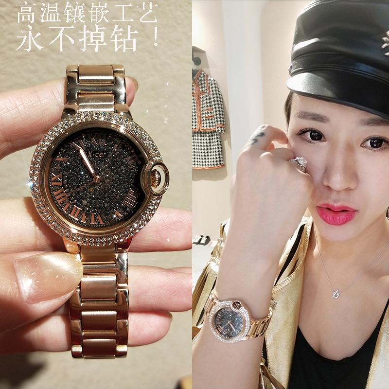 女士手表 水钻玫瑰金钢带 夜光 新款手表女防水时尚潮流韩版 2018