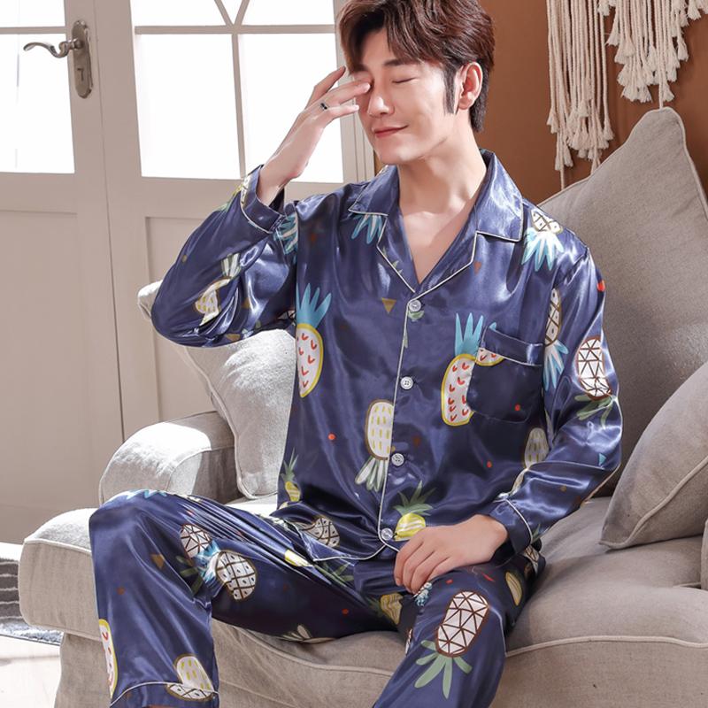 睡衣男春秋薄款冰丝睡衣男长袖夏季丝绸男士睡衣加大码家居服套装
