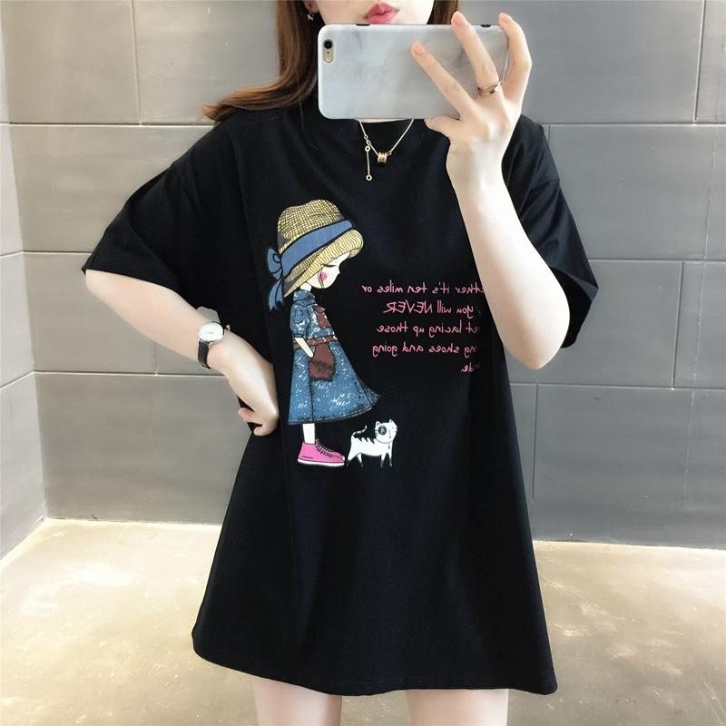 纯棉短袖T恤女装女士宽松2021年新款秋装夏季爆款中长款上衣服潮主图