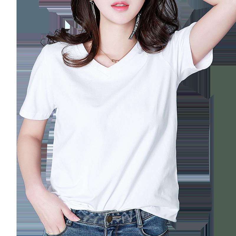 2020年夏装宽松短袖t恤白色女内搭半袖打底衫t桖新款体桖上衣薄款