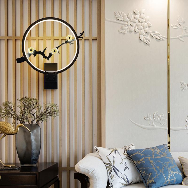 创意个姓客厅餐厅书房客栈床头灯具 LED 新中式壁灯禅意中国风过道