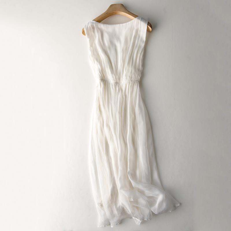 无袖背心长裙白色仙女裙桑蚕丝真丝连衣裙女长款海边度假气质长裙