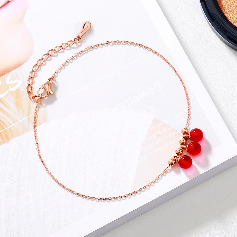 韩版时尚气质日式包18K玫瑰金脚链女钛钢彩金轻奢个性冷淡风饰品