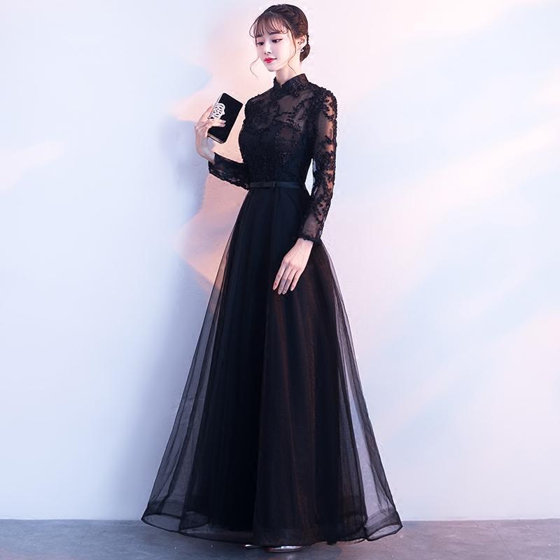 [淘寶網] 晚禮服女2018新款韓版顯瘦長款宴會晚禮服黑色優雅長袖年會禮服
