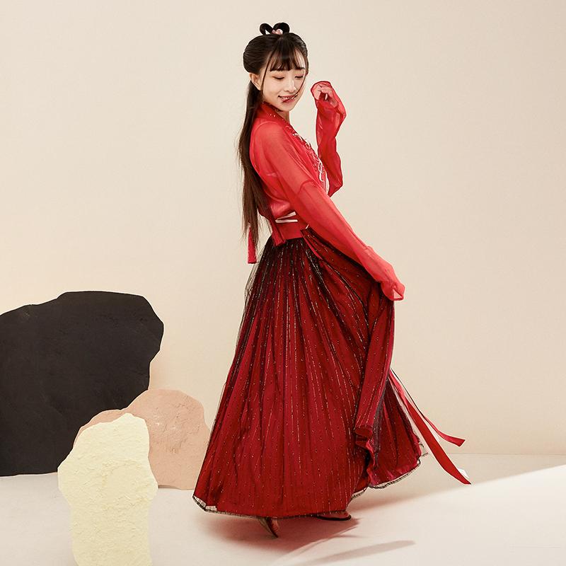 汉元素古装女 改良汉服对襟齐胸襦裙 绣花仙女裙 古风日常汉元素