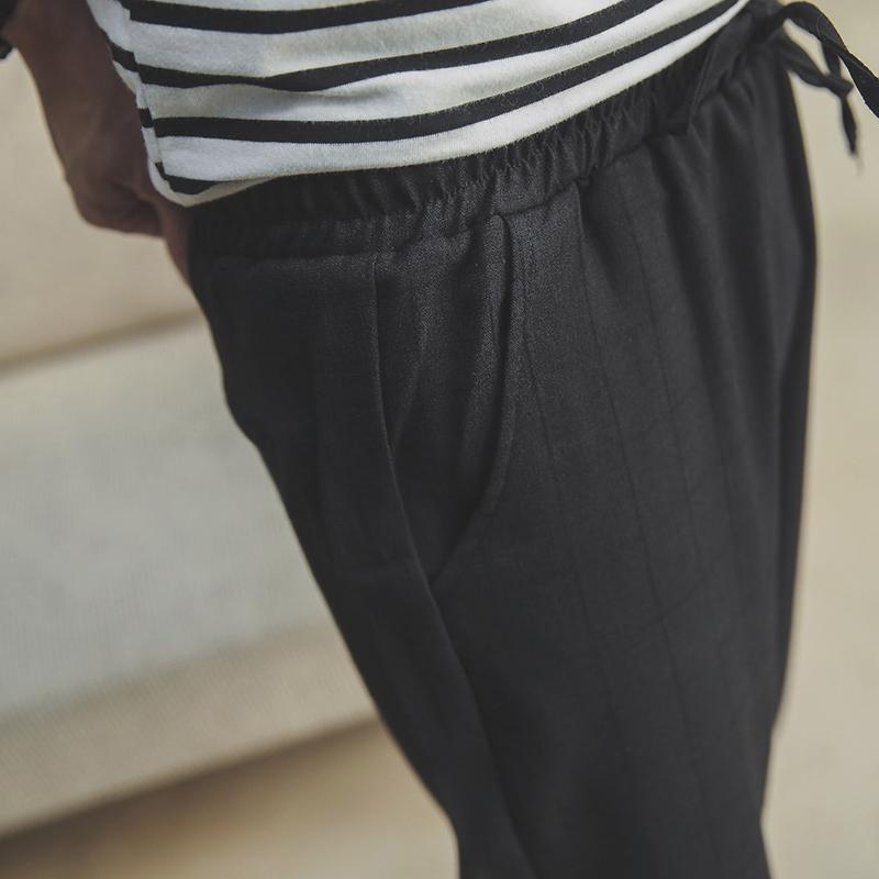 八分裤子男夏韩版潮流小脚休闲裤修身男士哈伦裤格子薄款七分裤潮