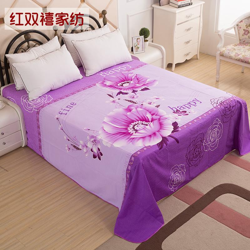 米床大版花加厚磨毛被单包邮 1.8m2 婚庆双人加大床单大红色单件