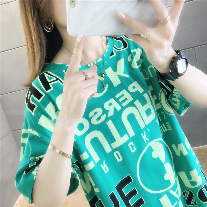 新款夏装中长款韩版宽松大码欧货潮上衣服半袖体恤 恤女短袖  T 2020