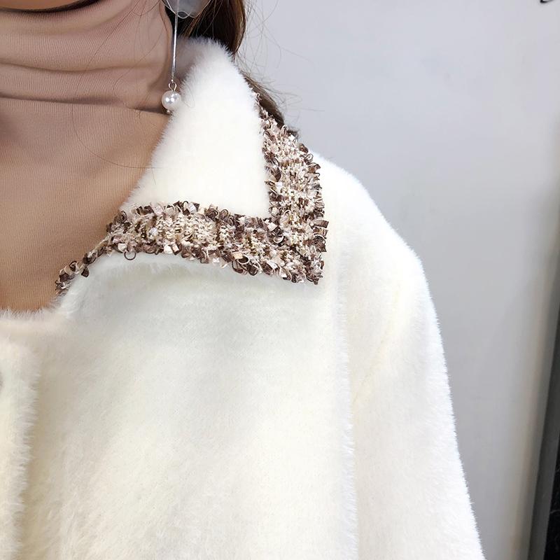 小香风仿水貂绒羊毛呢大衣女中长款2019秋冬季外衣新款流行外套