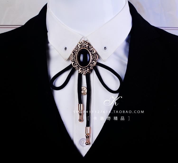 欧美领绳波洛领带潮男BOLO TIE水晶领带领结老鹰徽章鹿头项链配饰