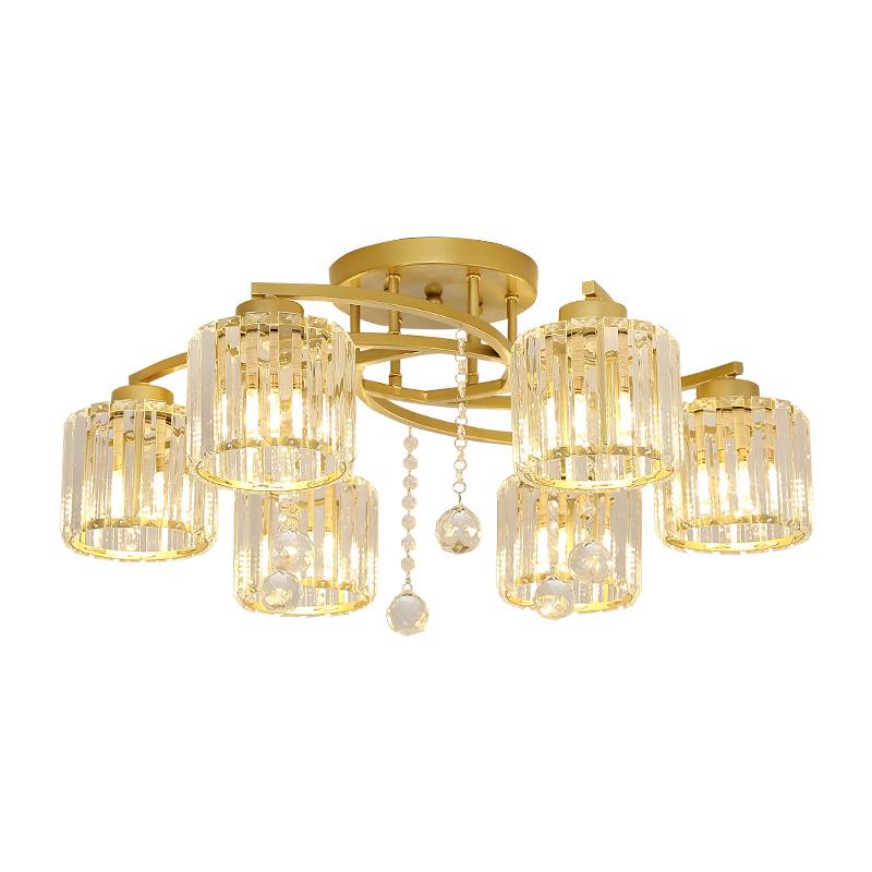 北欧后现代简约家用吸顶灯房间卧室圆形大气轻奢客厅餐厅水晶灯具
