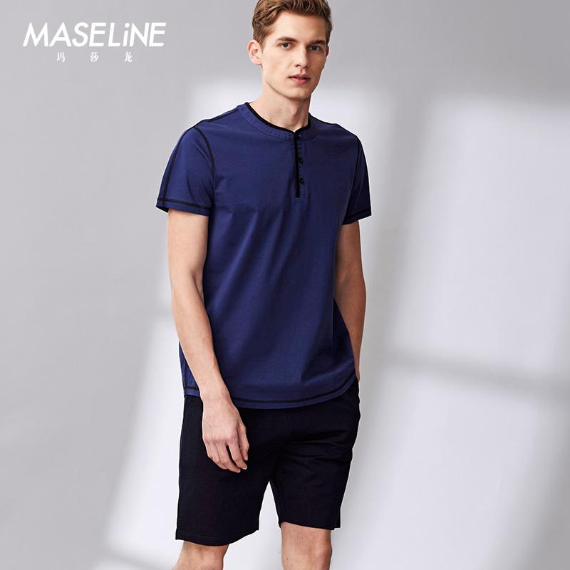 玛莎龙睡衣男士夏季上衣单件套头休闲T恤纯棉短袖宽松家居服简约