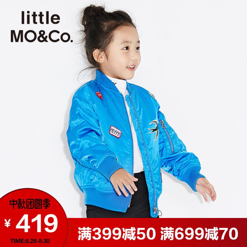littlemoco儿童外套厚款贴布绣立领短款夹克棉外套男女童