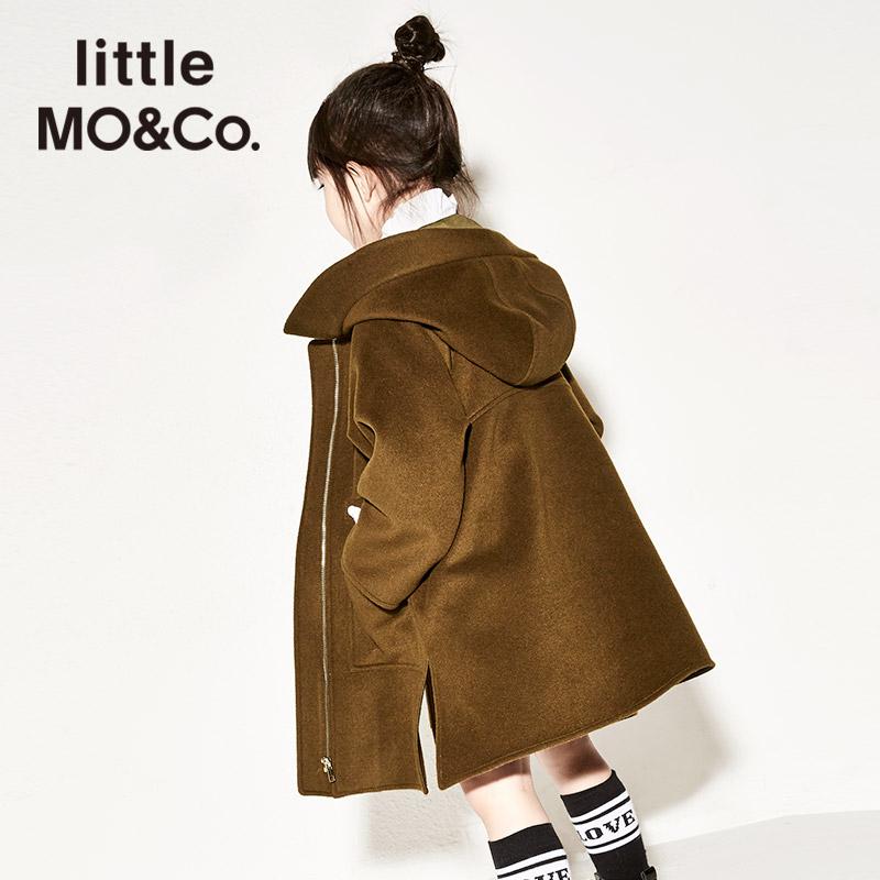 littlemoco女童毛呢外套冬儿童大衣中长款抽绳连帽羊毛呢女童大衣