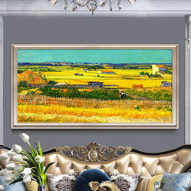 梵高麦田丰收手绘油画挂画客厅欧式沙发背景墙装饰画现代简约定制