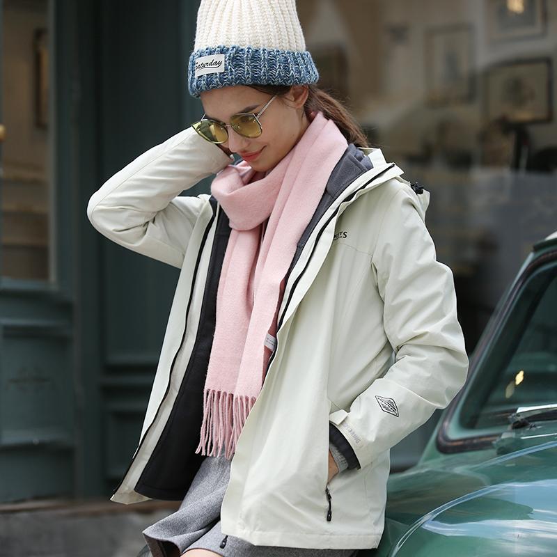 酷然户外冲锋衣男女冬季三合一两件套防水加绒加厚潮牌外套登山服