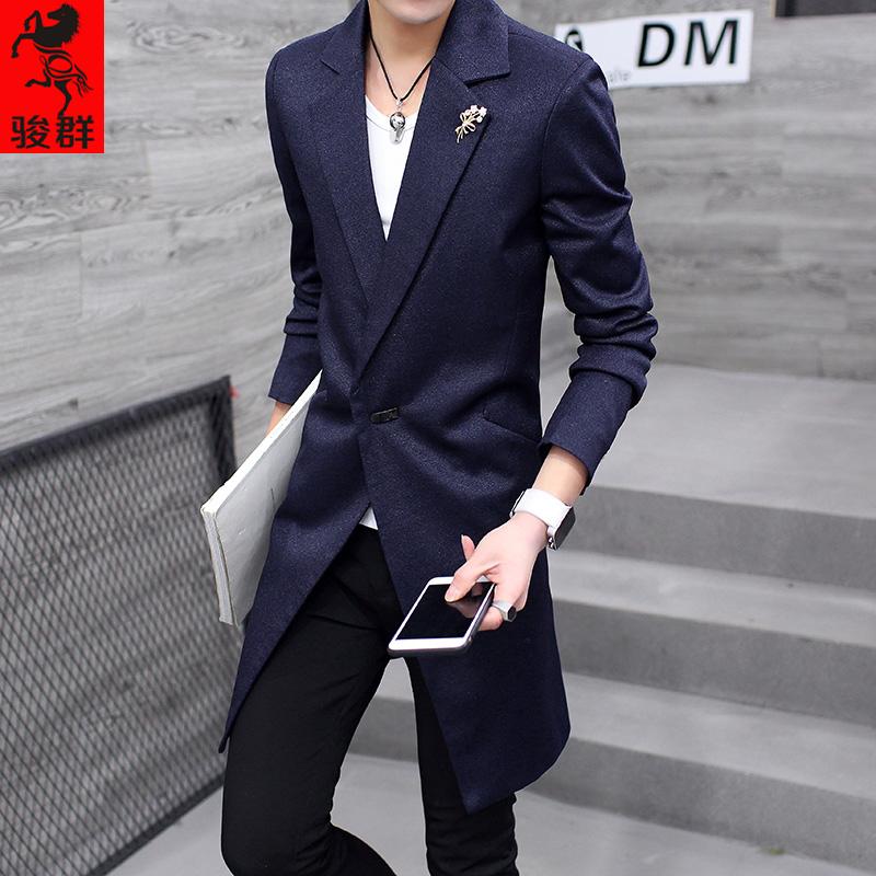 春秋季男士外套中长款风衣男韩版修身休闲大衣潮流披风帅气小西装