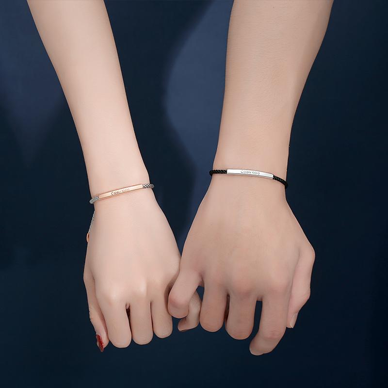 纯银情侣手链 小众设计感一对纪念编织绳情侣款男女圣诞节礼物  ins
