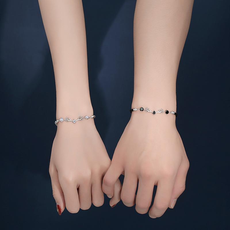 一鹿有你情侣手链一对纯银 小众设计编织绳男女闺蜜情人节礼物  ins