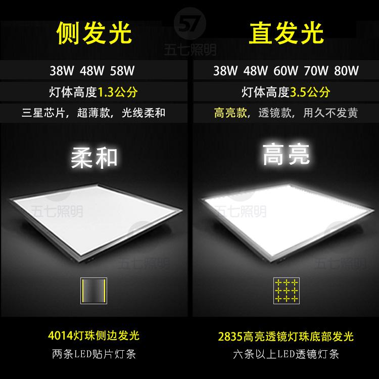 矿棉板面板灯嵌入式 60x60 石膏板铝扣板 600x600 平板灯 led 集成吊顶