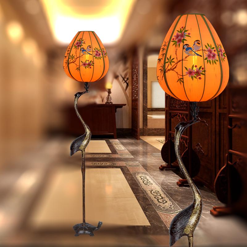 新中式落地灯新古典中国风仿古宫灯手绘龟鹤延年客厅卧室仙鹤复古