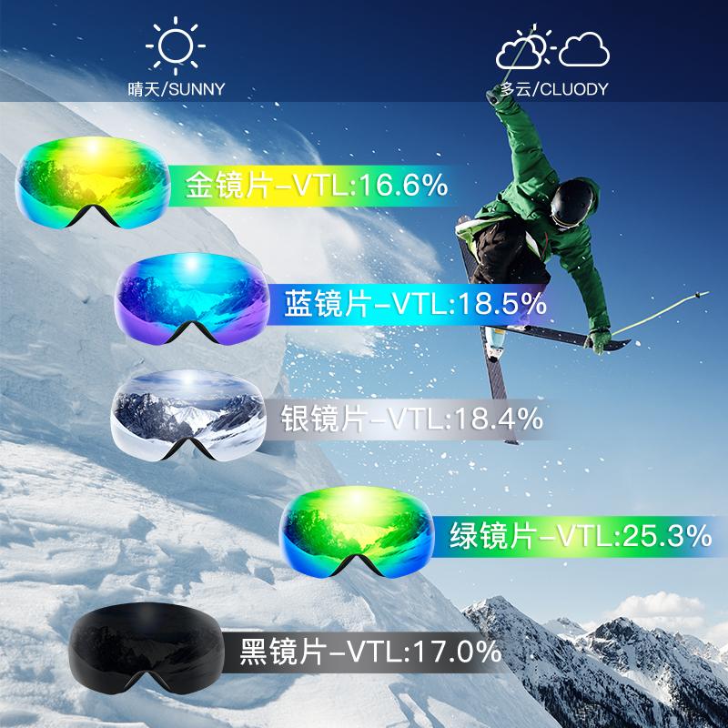 滑雪镜男女大人无边框大球面双层防雾可卡近视护目眼镜装备 COPOZZ