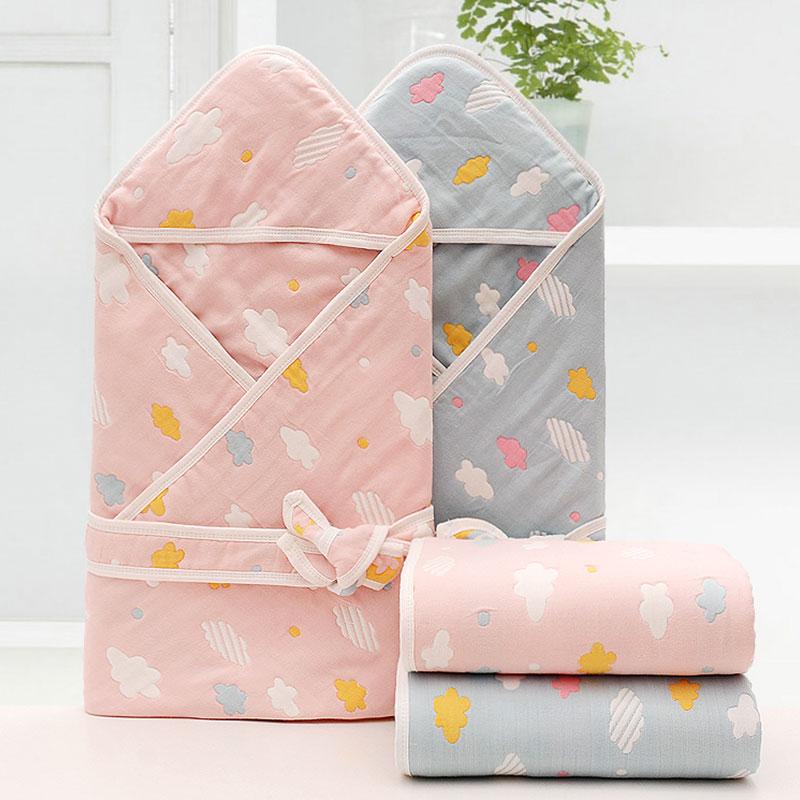 纯棉六层纱襁褓包被四季可用透气被毯新生儿抱被宝宝被褥婴儿用品
