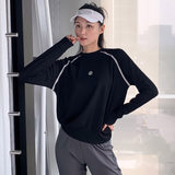 Autumn and winter sports fitness jacket women's long-sleeved quick-drying loose sports quick-drying gym yoga clothing blouse short sweater