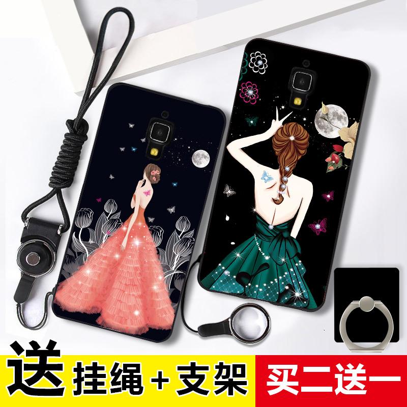 小米4手机壳硅胶女款 小米4手机套 防摔软外壳挂绳保护壳简约潮