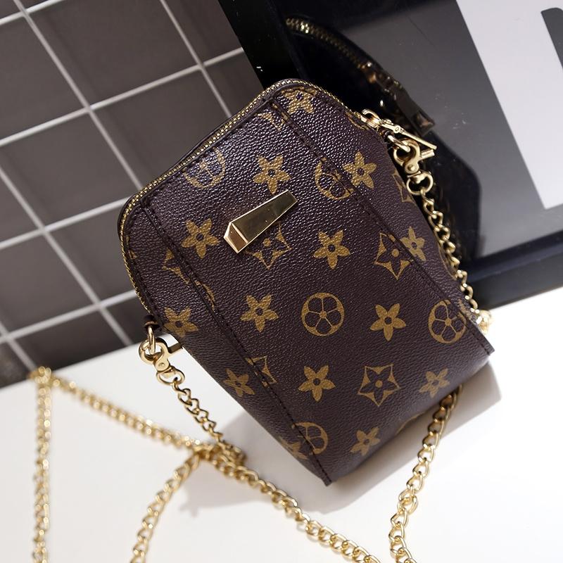 新款老花零钱包手机袋单肩小包包手拿包斜挎包手机包迷你女包竖款