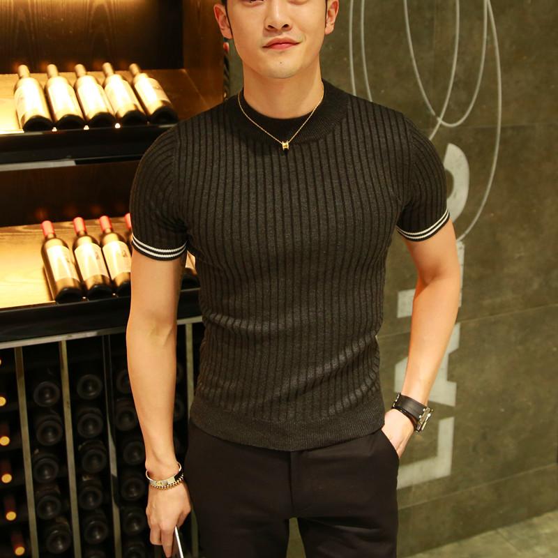 男装新款短袖毛衣潮男针织衫半高领秋季厚款修身男士半袖韩版线衣