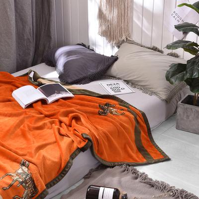 轻奢华橘色大马云毯北欧毛毯法兰绒珊瑚绒毯子加厚春秋休闲沙发毯