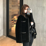 2020 new autumn and winter small fragrant wind black velvet lamb fur particles hair long plush coat female tide