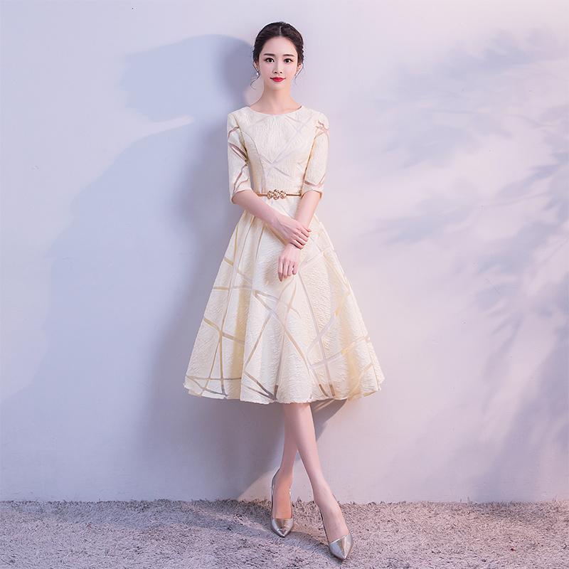 晚礼服2019新款伴娘宴会小礼服裙连衣裙高贵优雅显瘦短款派对女