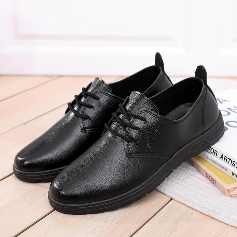 肯德基必胜客麦当劳工作鞋男黑色餐厅上班平底皮鞋男防滑软底单鞋