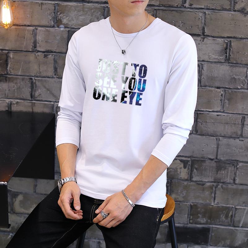 秋季长袖纯棉男士t恤