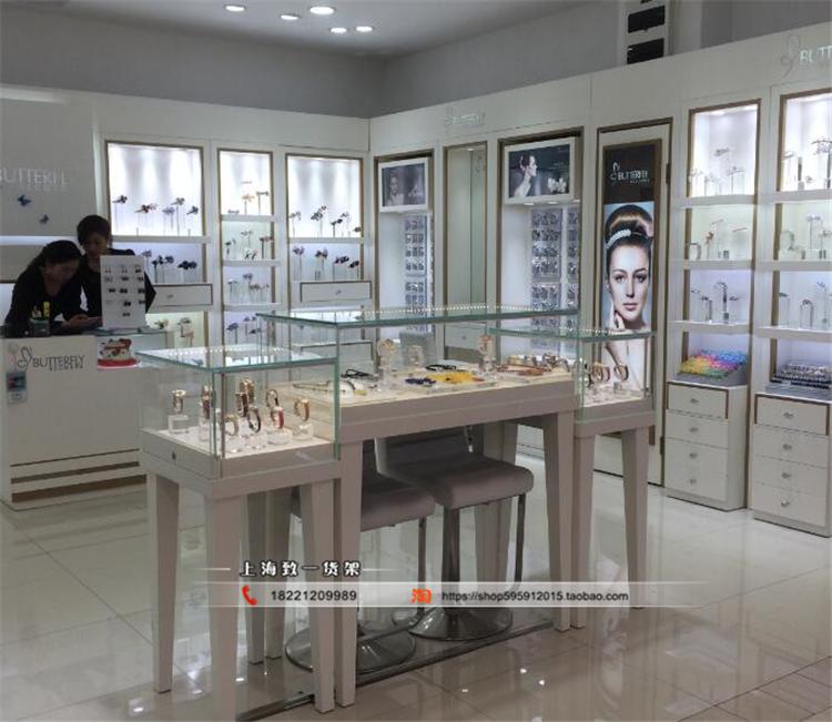烤漆新款珠宝展示柜玻璃玉器首饰柜手机手表柜木质中岛柜饰品柜台