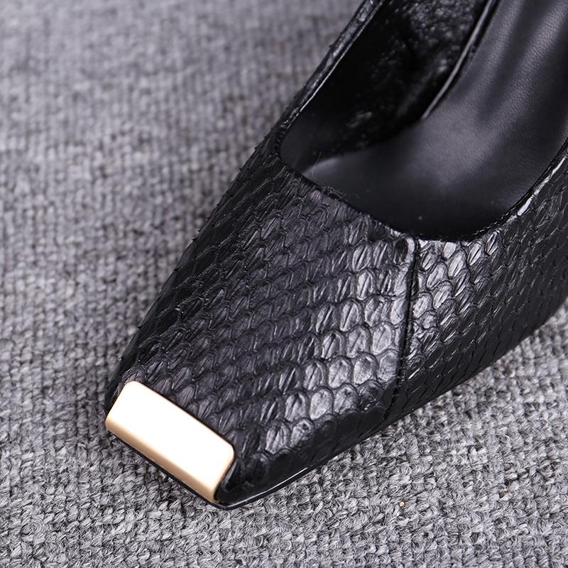 高跟鞋女粗跟欧洲站女鞋2020春季新款百搭黑色一字跟方头单鞋子女