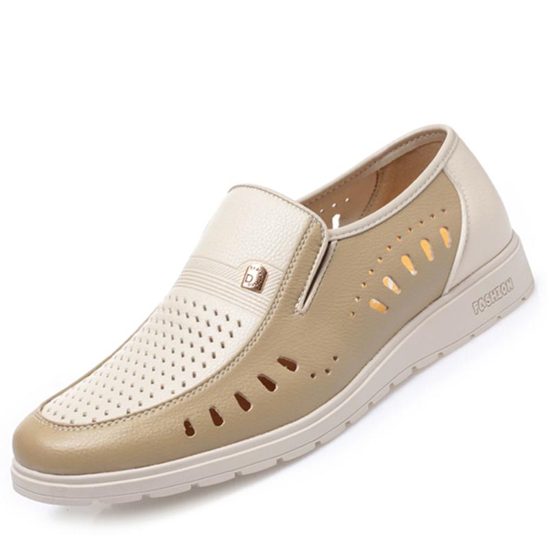 皮凉鞋男真皮软底洞洞中老年夏季男鞋白色爸爸鞋透气商务休闲皮鞋