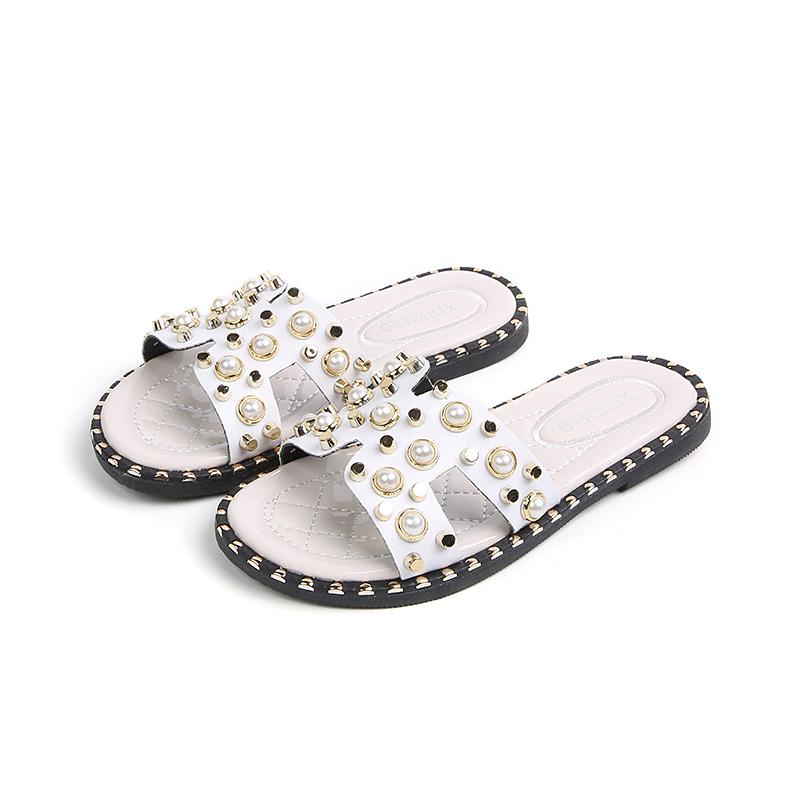 拖鞋儿童女童夏季可爱小公主时尚韩版一字拖珍珠拖鞋外穿摆拍凉拖主图