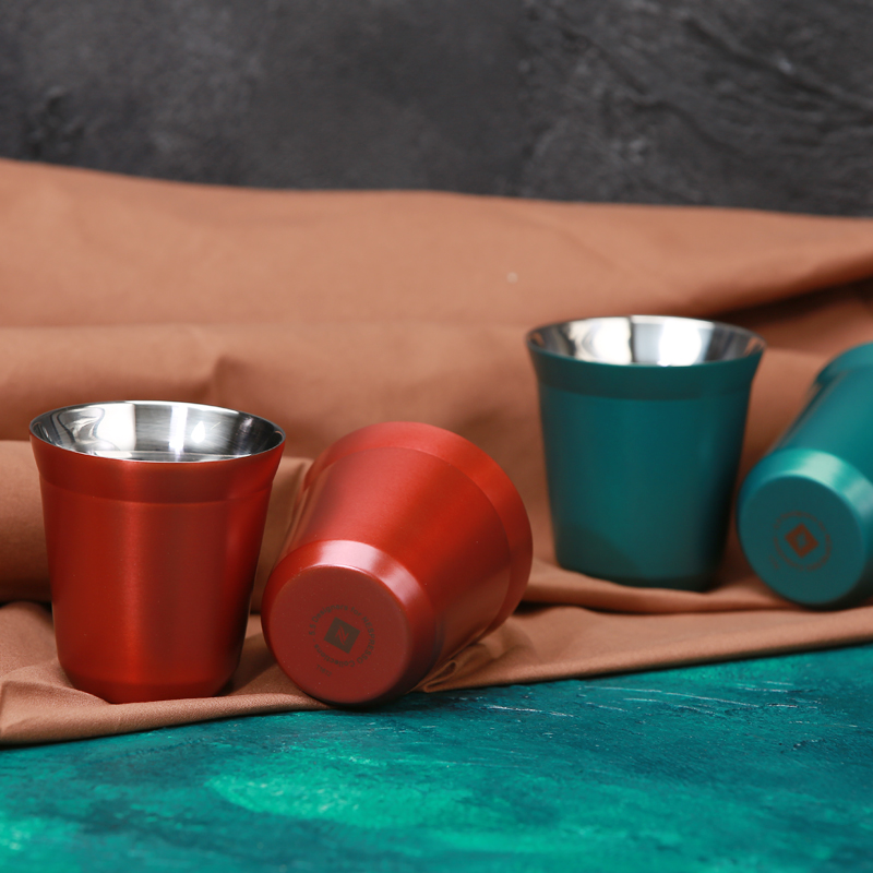 現貨雀巢NESPRESSO正品禮盒 不鏽鋼攪拌棒真空咖啡杯 2杯+2棒