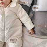 White pearl male and female baby coveralls baby soft warm autumn and winter 2019 Hooded Down