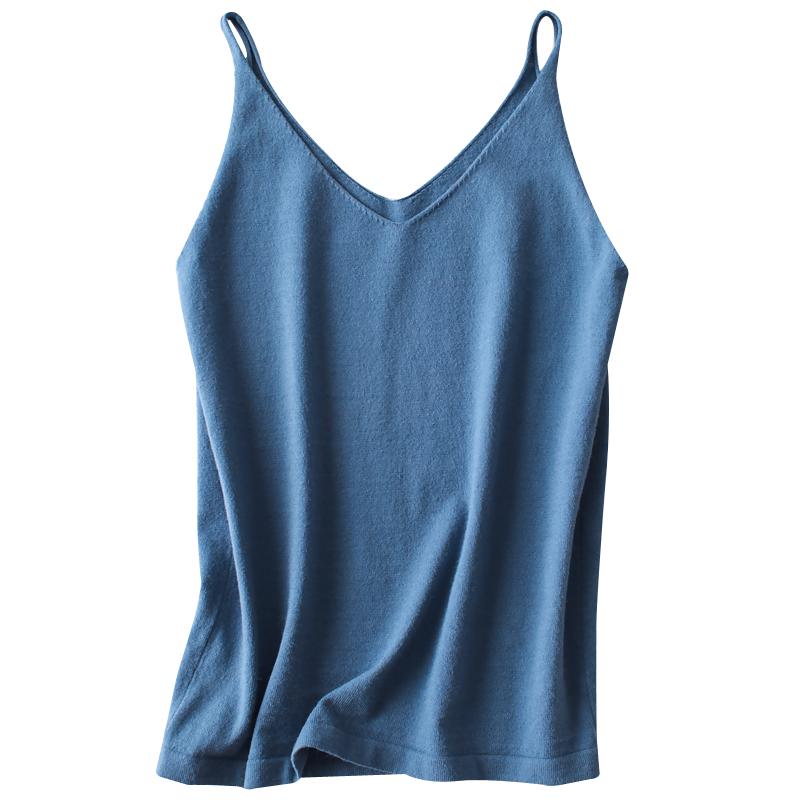 春夏季新品针织v领小吊带无袖上衣性感背心女外穿短款内搭打底衫