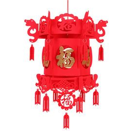 新年小红灯笼挂饰春节福字绣球装饰节场景布置无纺布宫灯挂件