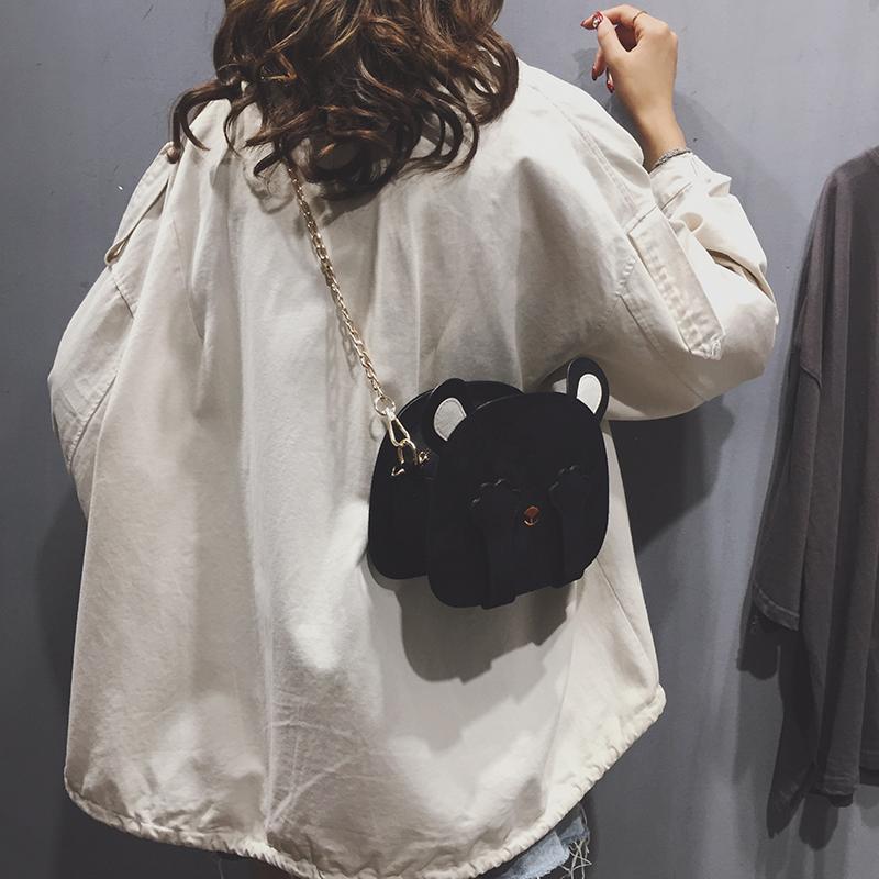 新款可爱网红小熊包链条单肩斜挎包日系小挎包 2019 秋冬季包包女包