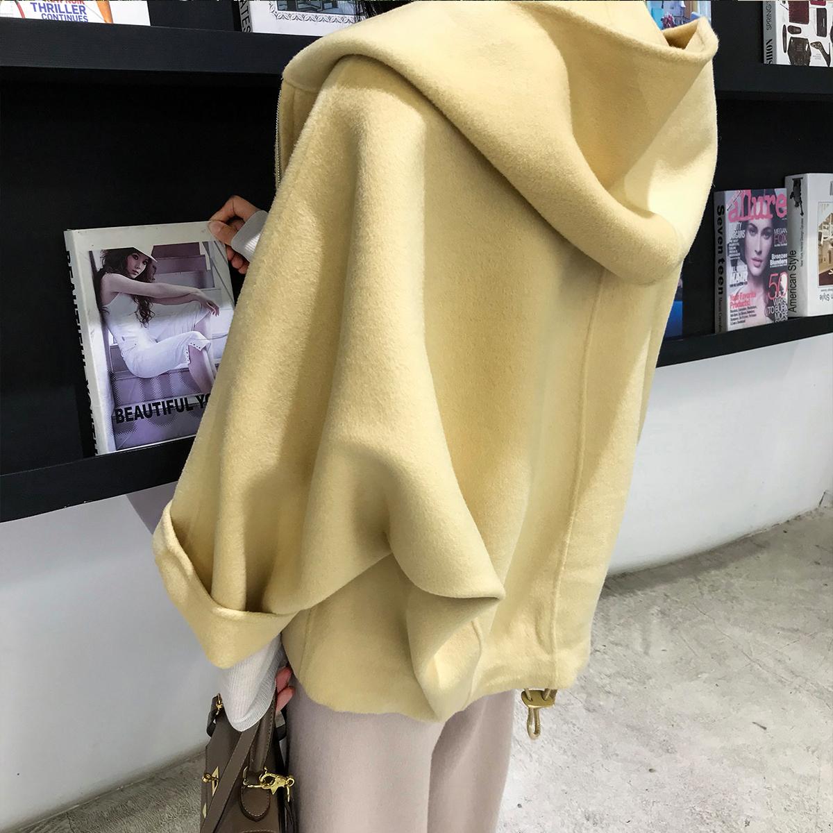 jill大姐姐 2018冬装款长袖连帽羊毛双面呢外套短款毛呢卫衣外套