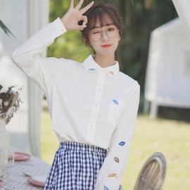 帛卡琪2020新款春秋绣花树叶翻领白色衬衣女百搭长袖学生打底衬衫