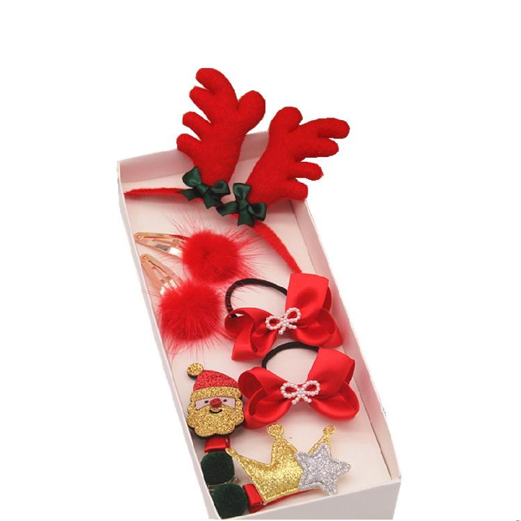 新年款儿童饰品宝宝发夹可爱不伤发橡皮筋女童发饰品bb夹大红套装